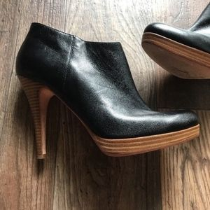 STEVE MADDEN LIPSTIK Black Leather PLATFORM ANKLE